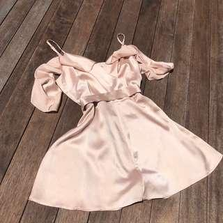 Pink silky playsuit