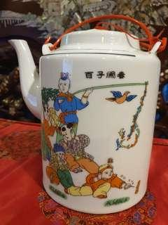 Chinese vintage teapot with children art big size