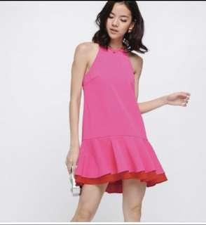 Quentin Contrast Ruffle Hem Dress in Hot Pink