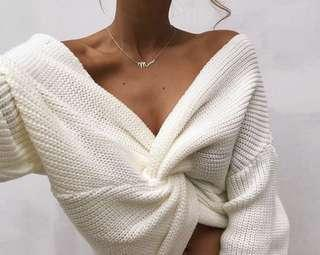 MissPAP - white knit twist sweater