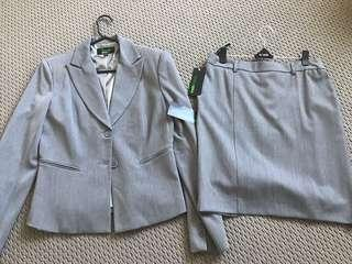 Grey work suit jacket and suit skirt set