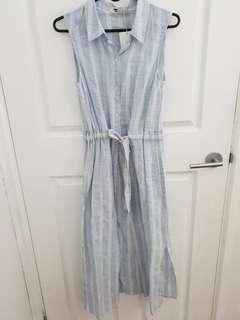 Linen shirt midi dress with side slits BNWT $30 size 8