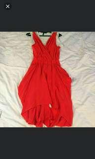 Authentic BCBG red silk and cotton dress