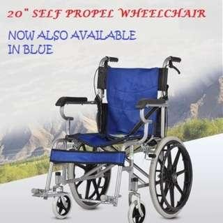 WHEELCHAIR, BRAND NEW. COMPACT, SELF PROPEL, FOLDABLE AND LIGHT WEIGHT
