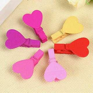 Wooden Heart Photo Clips