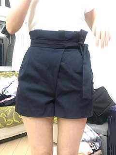 Zara深藍高腰短褲