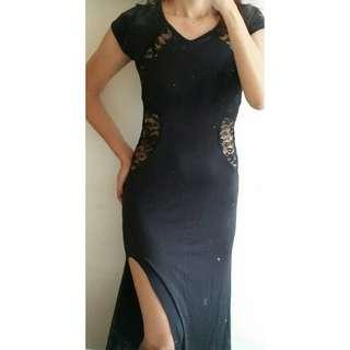 Sexy Laced Long Black Dress