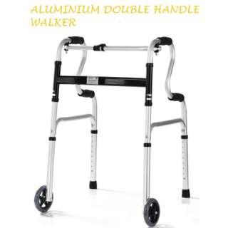 WALKER/TOILET SUPPORT, WITH FRONT WHEELS, LIGHT WEIGHT, ALUMINIUM MATERIAL