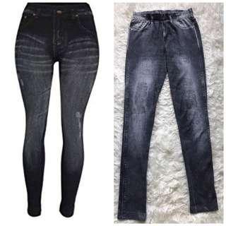 Preloved Divided by H&M divided h&m dark grey leggings print fake jeans seamless