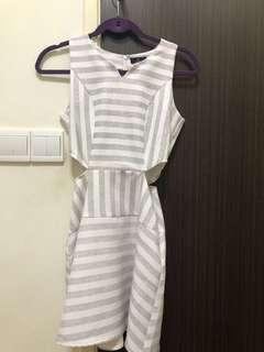 ZALORA Stripes Dress Cutout waist