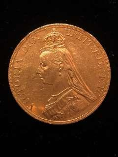 1887 Great Britain Crown Pure Gold Authenticity Guaranteed