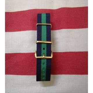Nato strap green/navy gold buckle 20mm