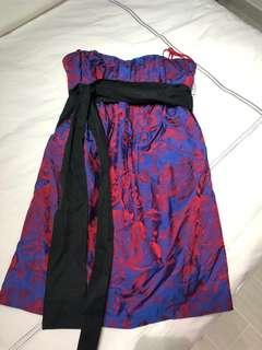 Dress jacquard material blue & red Branded