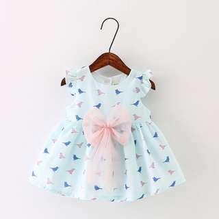 BN Brand New Girl Girls Baby Summer Dress Party CNY Sweet Korean Blue Pink Green Bow Ribbon Plaid Cute