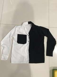 Kemeja hitam putih kontras