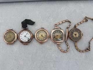 1920s Rolex Vintage Ladies Soild pink or rose gold Swiss Watch es lot