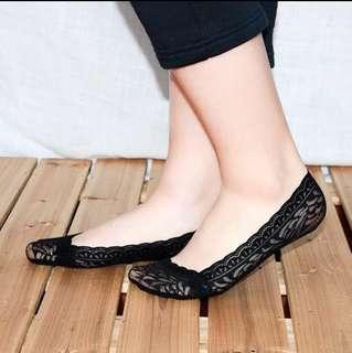 Ladies Invisible Low Cut Lace Socks
