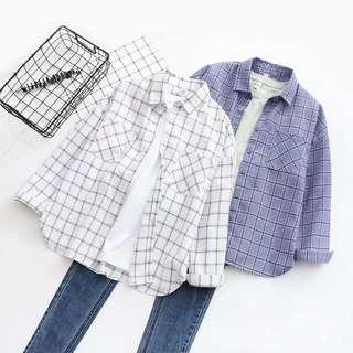 🚚 INSTOCKS White Grid Flannel Long Sleeves Shirt #Next30
