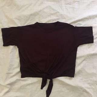maroon tie up crop tp