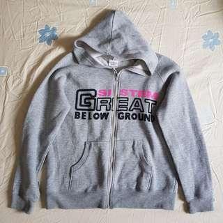 ✨ Grey Slogan Hoodie Jacket