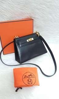 Hermes Mini Kelly Black Box Leather GHW #V, Bisa pilih strap (original hermes strap)