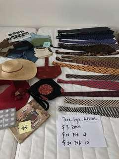 Moving sale - Ties, etc $3 each, 10$ for 4 20$ for 10