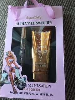 Perfume and face body tan
