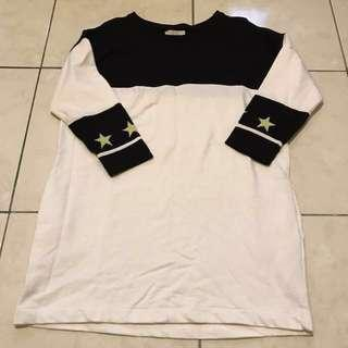 Zara 長版 黑白上衣 可單穿 有口袋