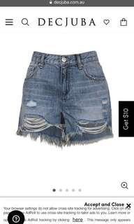 Decjuba remi distressed denim shorts size 8 BNWOT