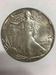 1987年,10z FINE SILVER ONE DOLLAR