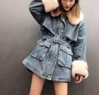 韓國牛仔毛毛外套 團購價 $450 長身