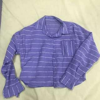 Silk Blue Horizontal Lines Blouse