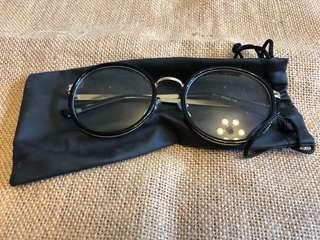 造型眼鏡 冇度數 金邊連袋