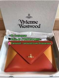 (現貨) 2018春夏 Vivienne Westwood PRIVATE 牛皮雙色併色 信封袋 手拿(保証正貨及全新) 橙色