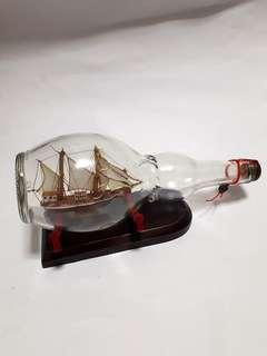 Vintage Glass Bottle Sailing Ship
