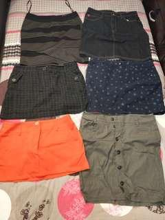 Skirts at $10 each