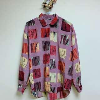 🚚 復古粉色滑布格紋襯衫