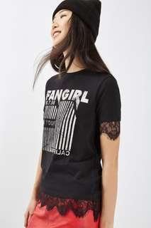 New BNWT Topshop Fangirl Lace Tshirt