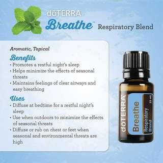 A drop of doTERRA Breathe 15ml makes breathing easier
