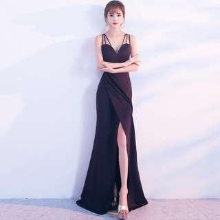 🚚 Black maxi prom wrap dress
