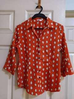 Pazzo orange polka dots polo