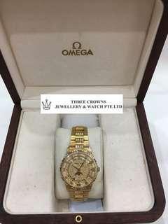 Omega Yellow Gold Diamond Watch