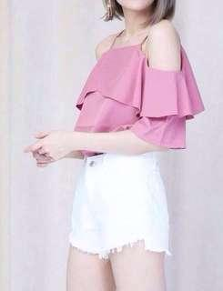 Pink off shoulder ruffles top