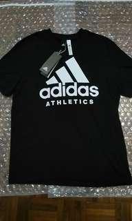 全新adidas logo tee Size M black T-shirt Athletics 黑色