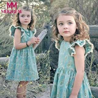Baby girls dress clothes summer Toddler Kid Baby Girl Lace Ruffles Sleeve Peacock feathers Print Party Dress