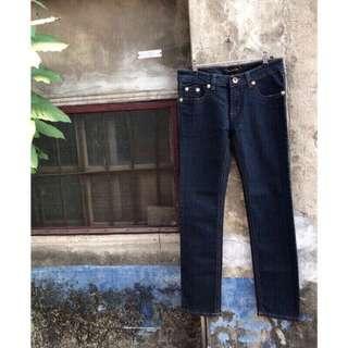 🚚 復古莫蘭迪藍彈性牛仔褲 玫瑰金釦古著休閒長褲 顯瘦深藍 素面 牛仔長褲