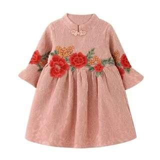 Girls Princess Dress 2018 R Chinese Ethnic Style Flowers Embroidery Dress Toddler Children Kids Dresses for Girls