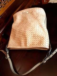 Mizzue  almond color bucket handbag