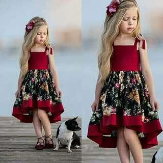 New Style Kid Girl Floral Dress Formal Princess Girl Wedding Party Dress Children Girl Summer Fashion