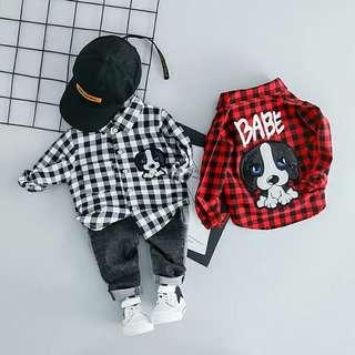 1set shirt + jeans Toddler Boys Plaid Cartoon Dog Tops Shirt Long Sleeve Plaid Shirt + Jeans 2pcs Clothing Set